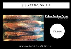 Pulpo Cocido Patas. Peix i Marisc Les Salines